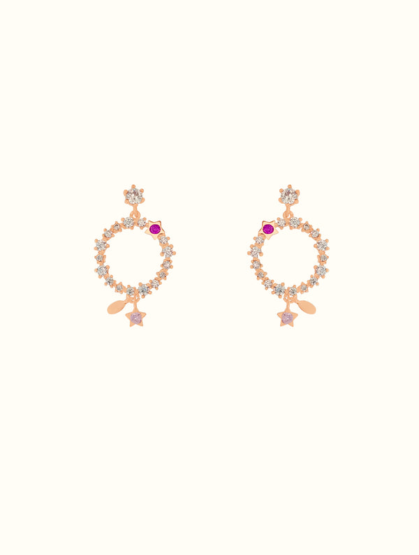 Circle Jewel Encrusted Studs