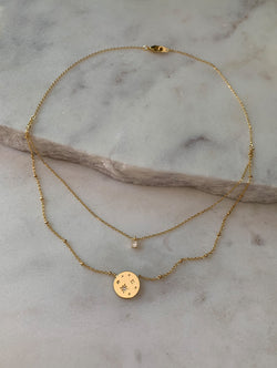 18K Gold Dipped Layered Stardust Coin Necklace (SC)