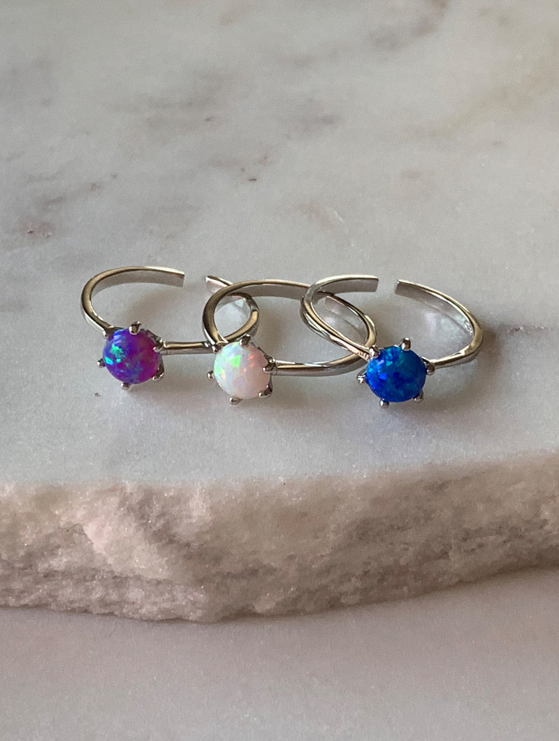 Sterling Silver Dainty Opal Ring (D)