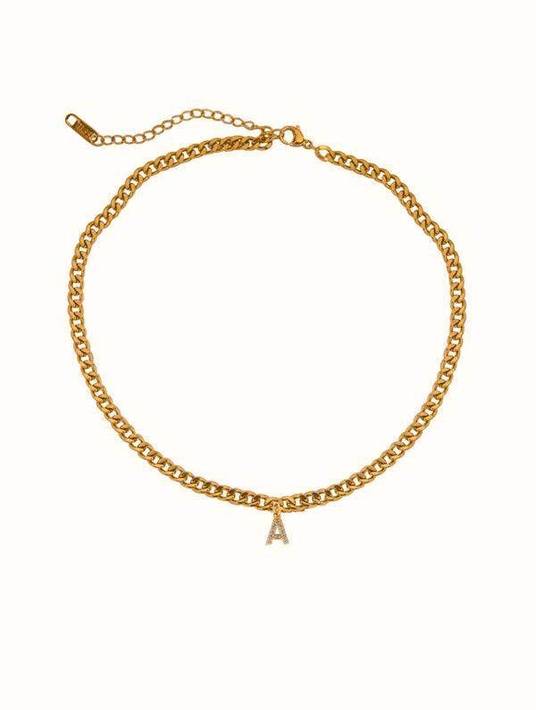 Initial Cuban Choker Necklace (N)