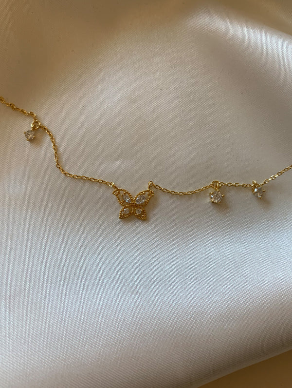 Tiny Butterfly Diamonds Necklace (BD)