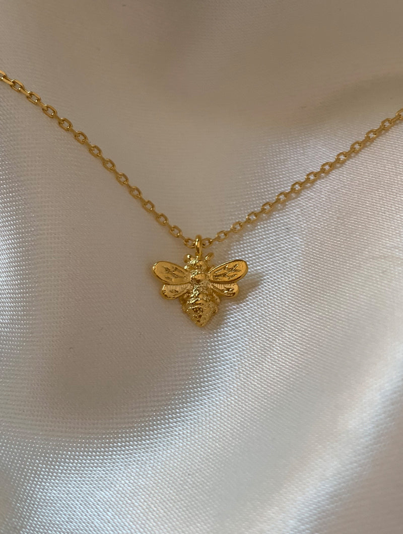 18K Gold Dipped Tiny Bee Necklace