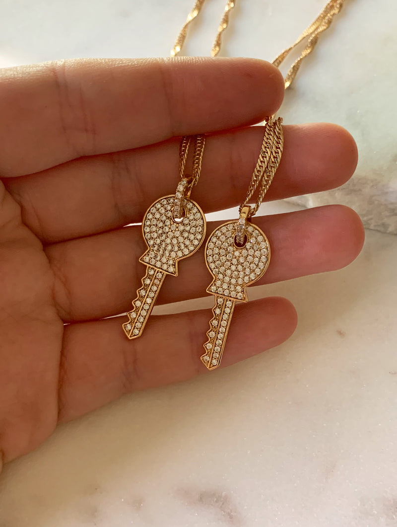 Gold Filled Diamond Key Necklace