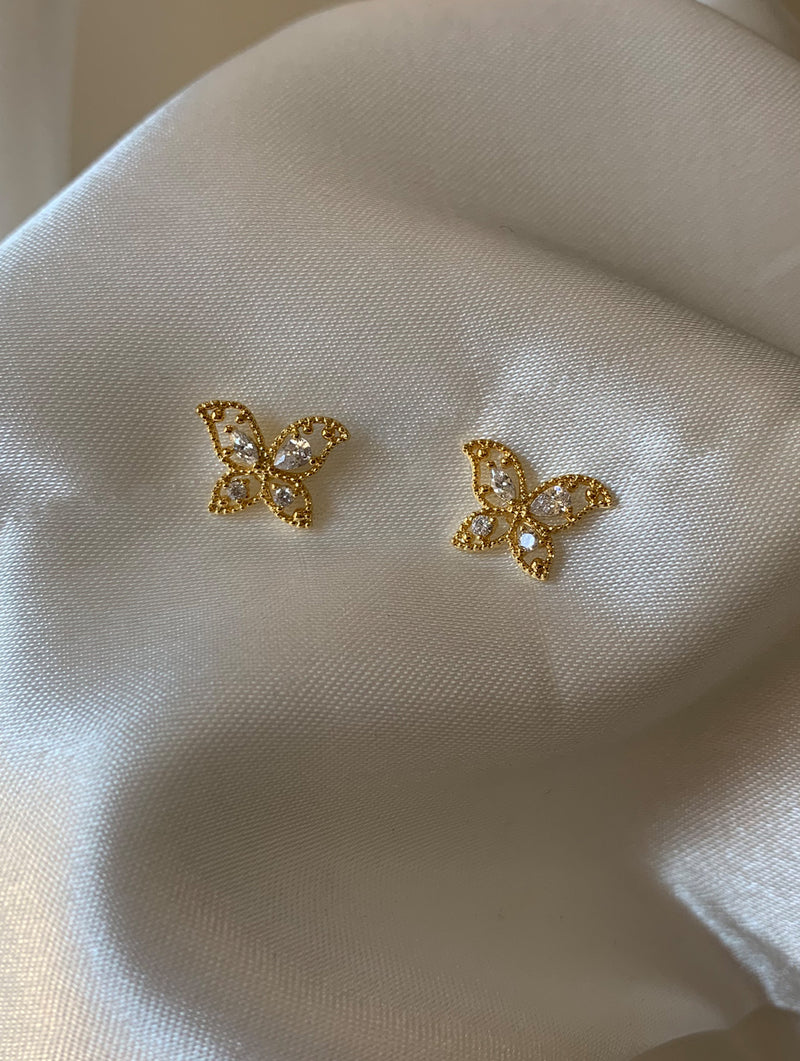 18K Gold Dipped Tiny Butterfly Studs