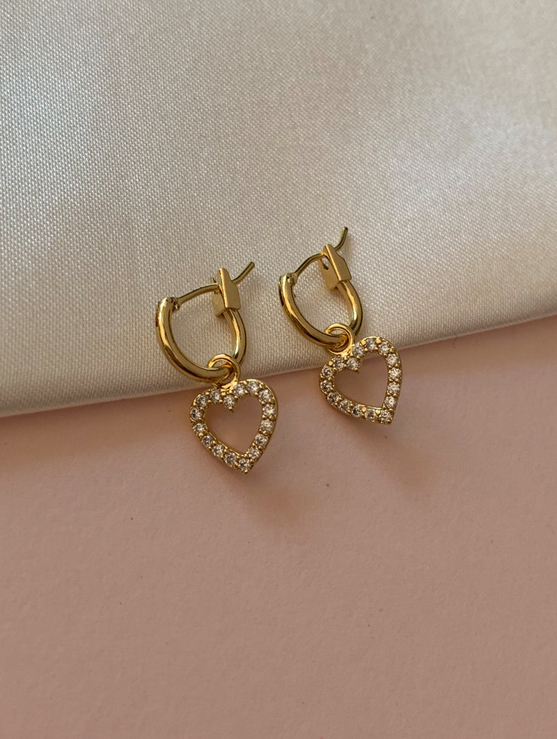 14K Gold Dipped Tiny Heart Crystal Hoops