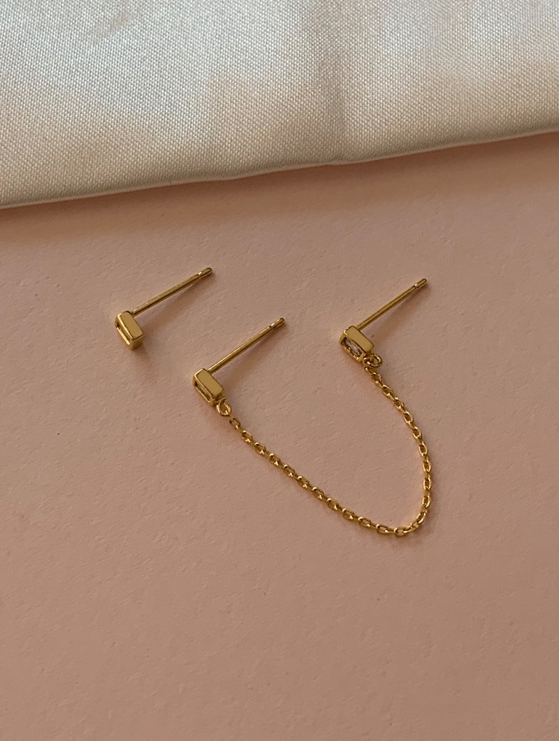 18K Gold Dipped Stud Chain Set