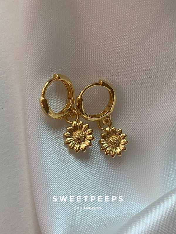 Tiny Sunflower Hoops