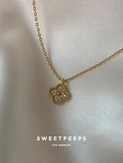 Tiny Diamond Clover Necklace