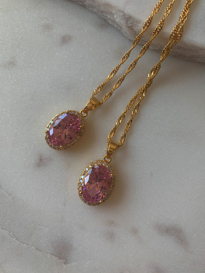 18K Gold Filled Pink Oval Stone Necklace