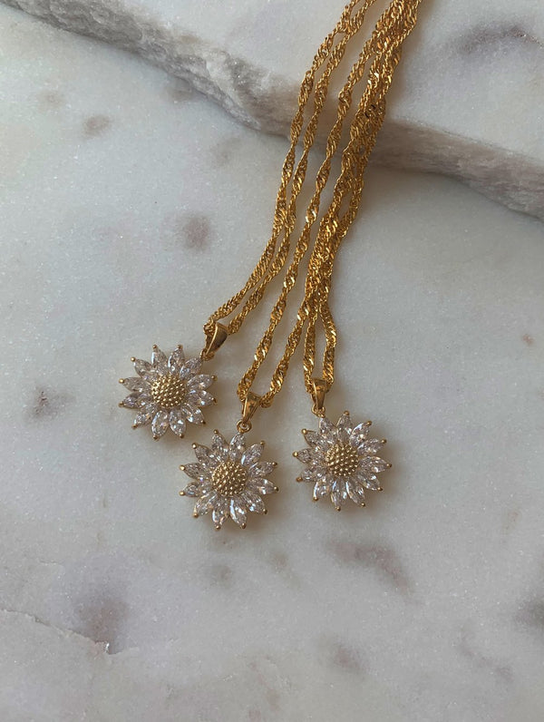 Gold Filled Sunflower Necklace (NS)