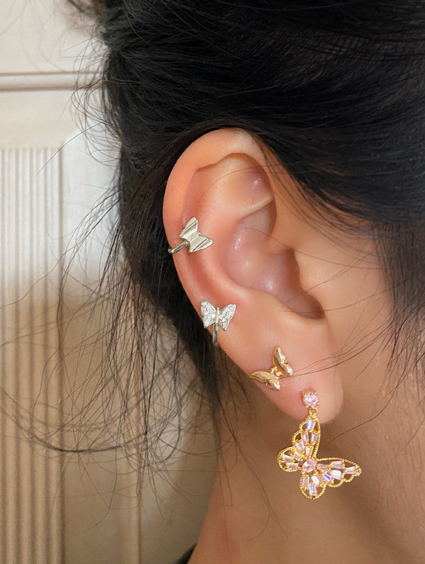 Silver Diamond Butterfly Ear Cuff