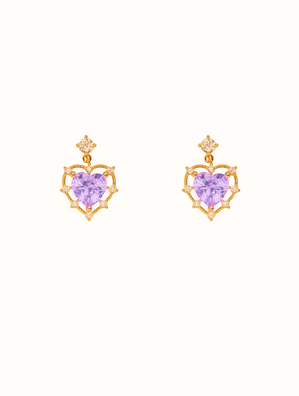 Megan Princess Heart Studs