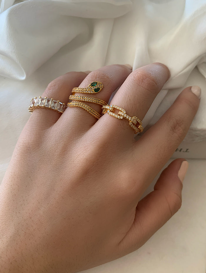 Green Eyes Snake Ring