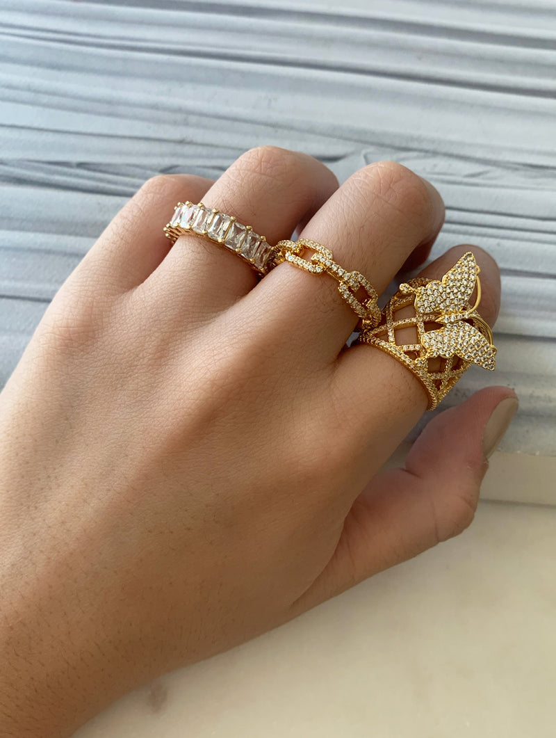 Wide Band Butterfly Ring