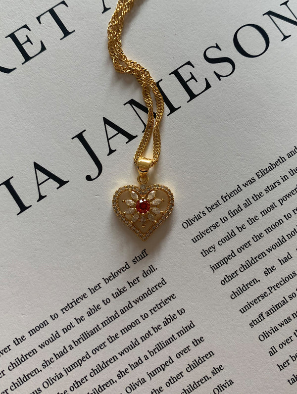 18K Gold Filled Red Stone Heart Necklace