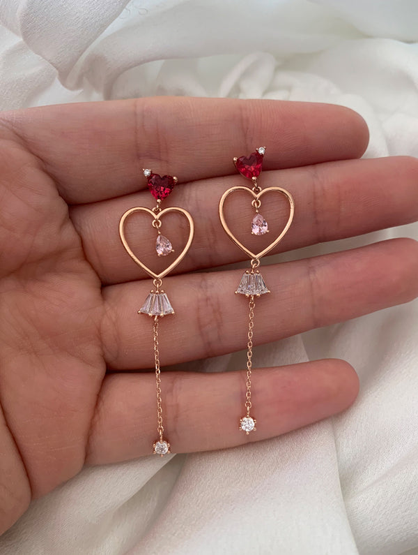 Diamond Heart Dangle Studs