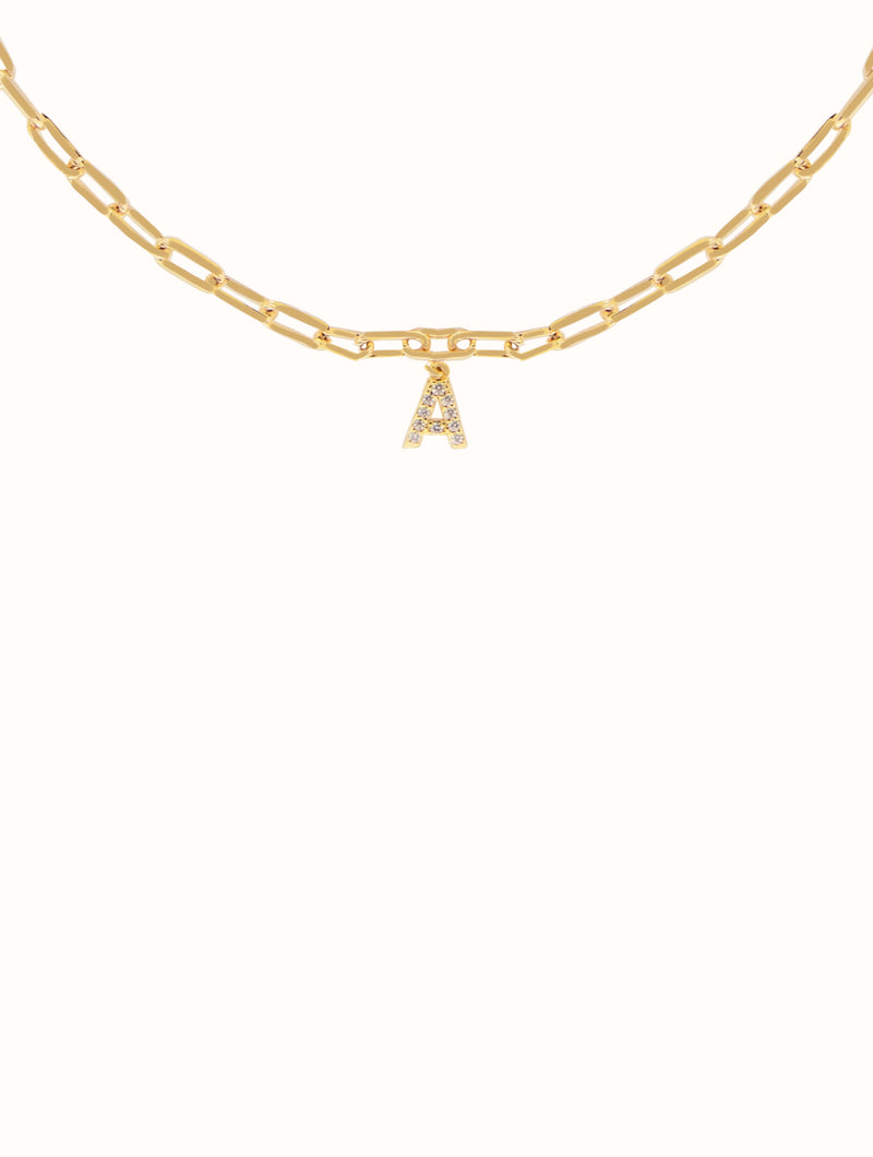 18K Gold Filled Rolo Link Initial Choker