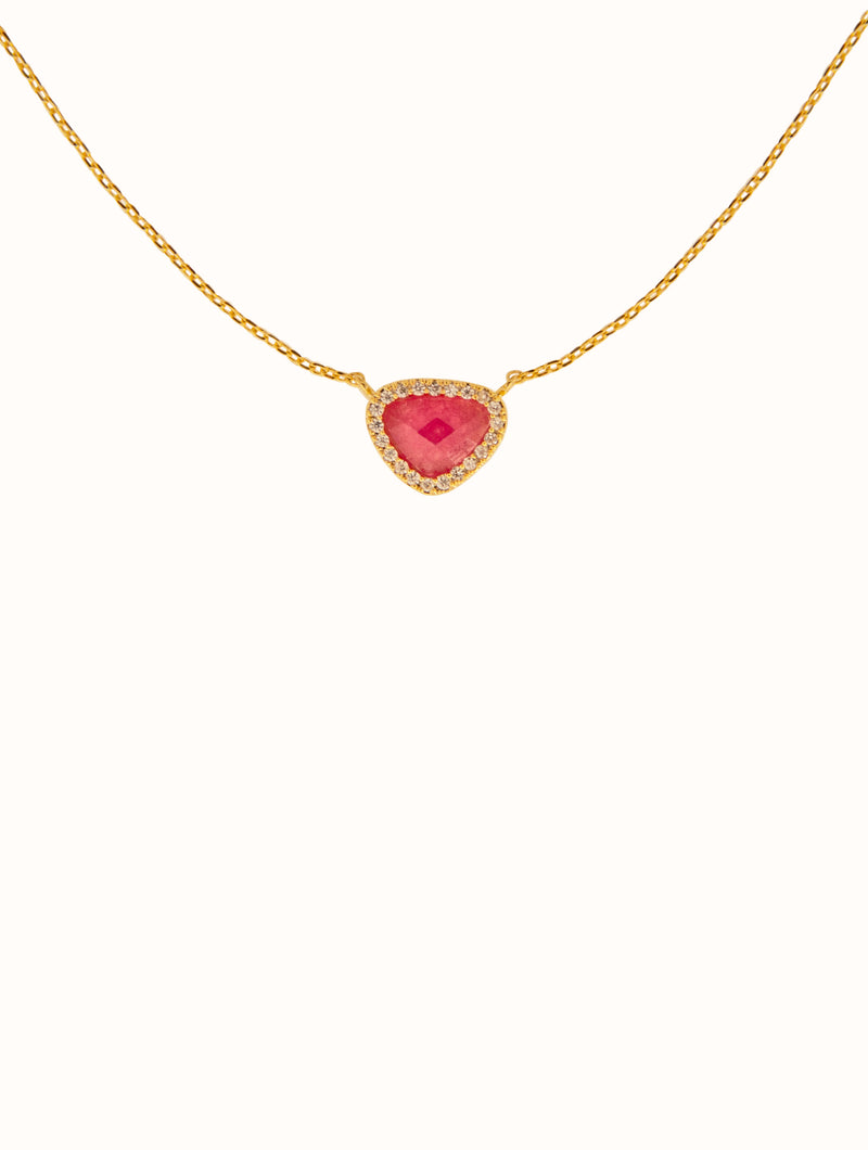 18K Gold Dipped Pink Stone Necklace