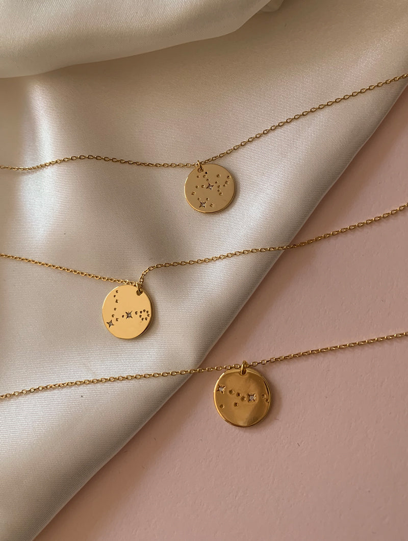 18K Gold Dipped Zodiac Pendant Necklace