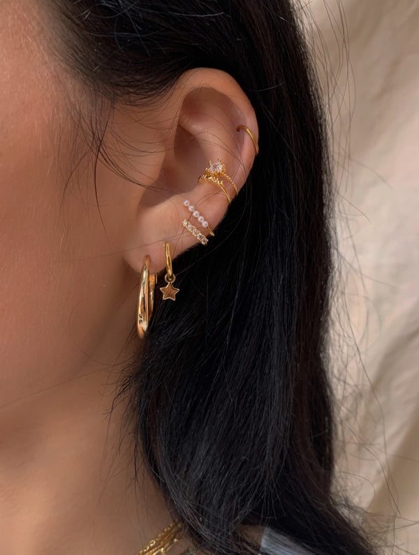 Sterling Silver Gold Star Embellished Ear Cuff