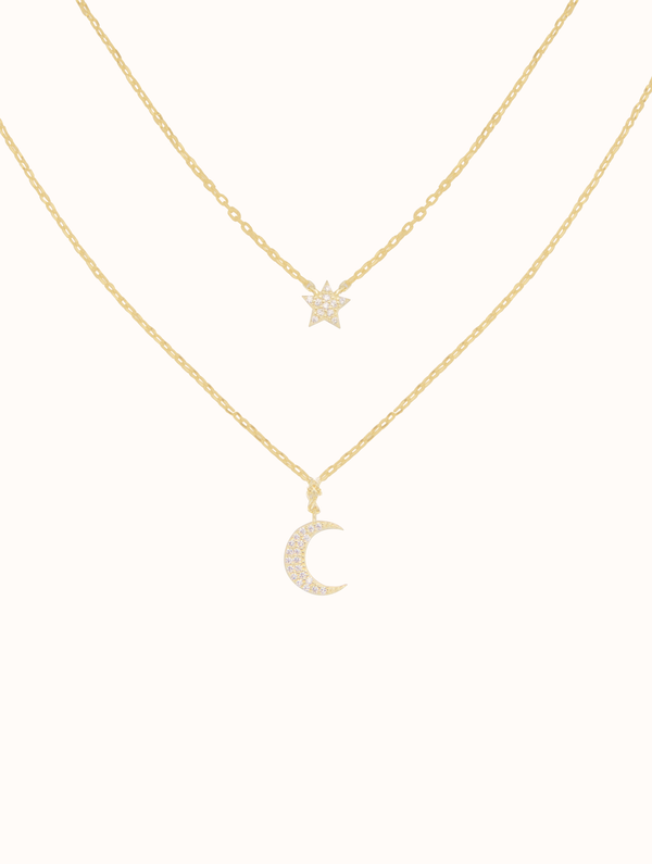 Sterling Silver Layered Moon & Star Necklace (SM)