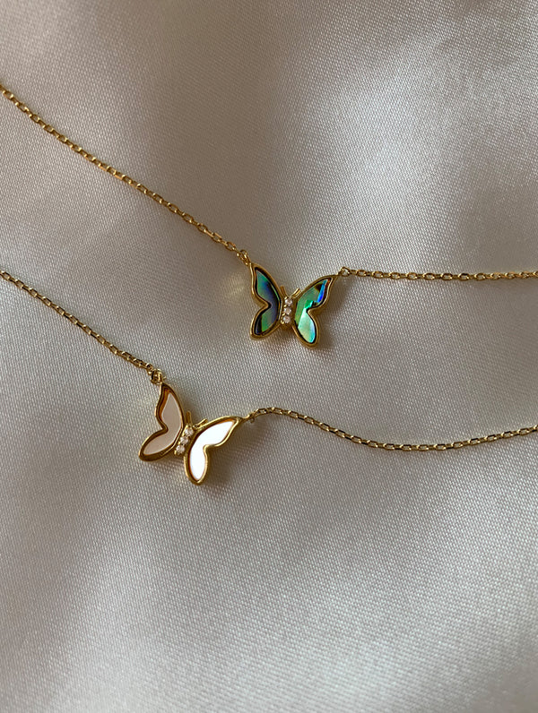 18K Gold Dipped Opal Butterfly Necklace