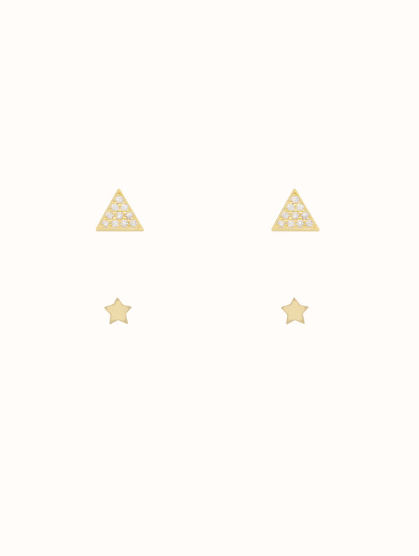 Sterling Silver Tiny Triangle & Star Stud Set