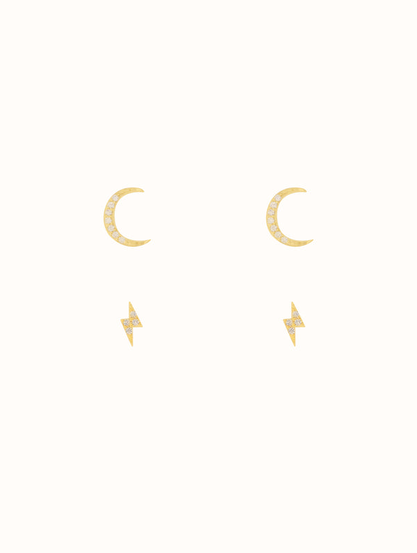 Sterling Silver Moon & Lightning Stud Set