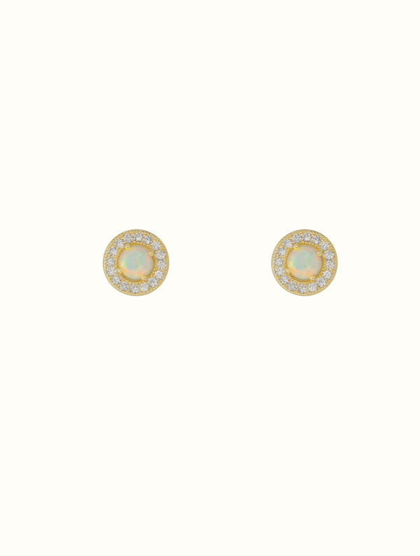 Sterling Silver Diamond Opal Studs