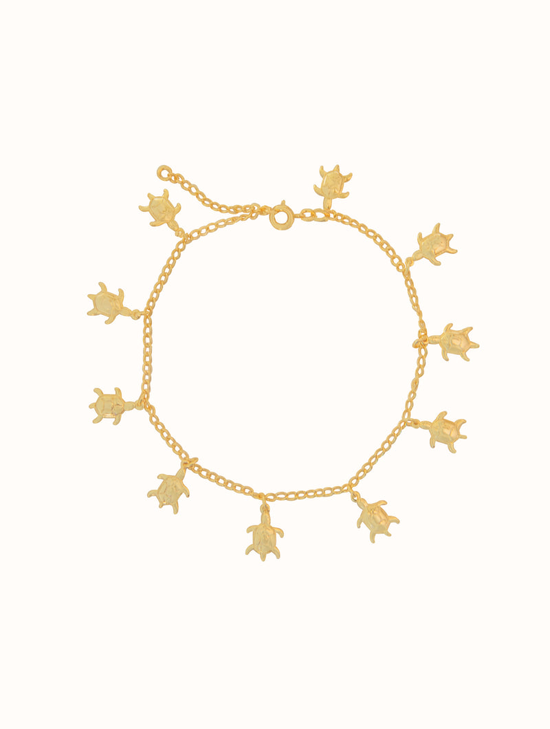 Gold Filled Tiny Turtle Anklet