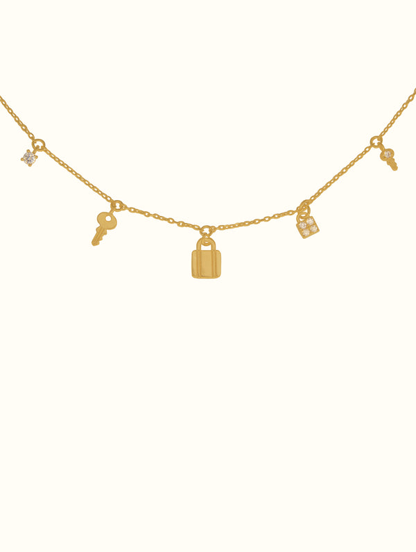 18K Tiny Lock & Key Charms Necklace