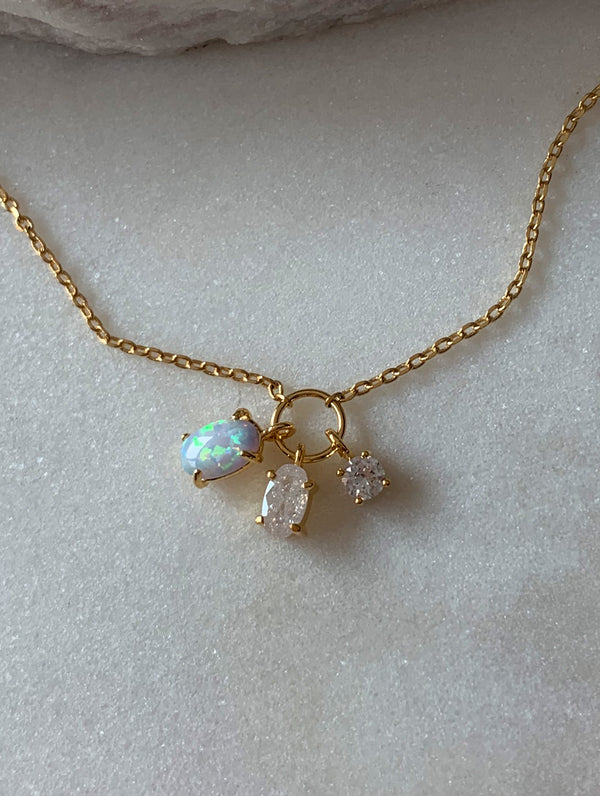 Opal & Diamond Charm Necklace