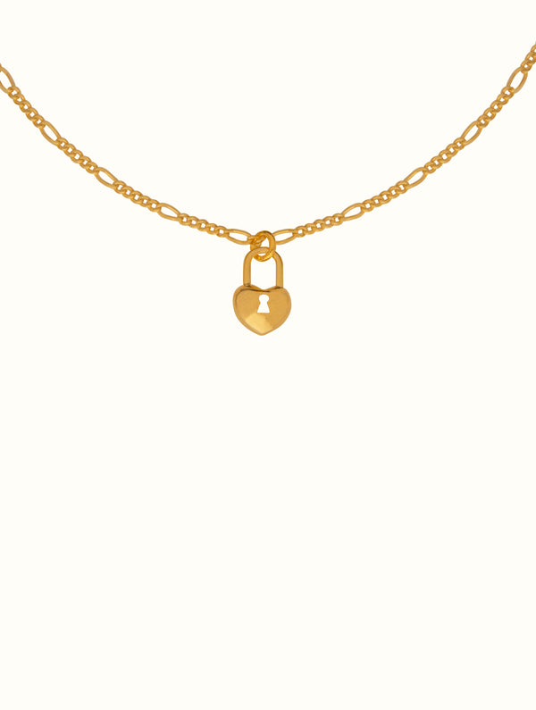 Figaro Chain Heart Locket Necklace