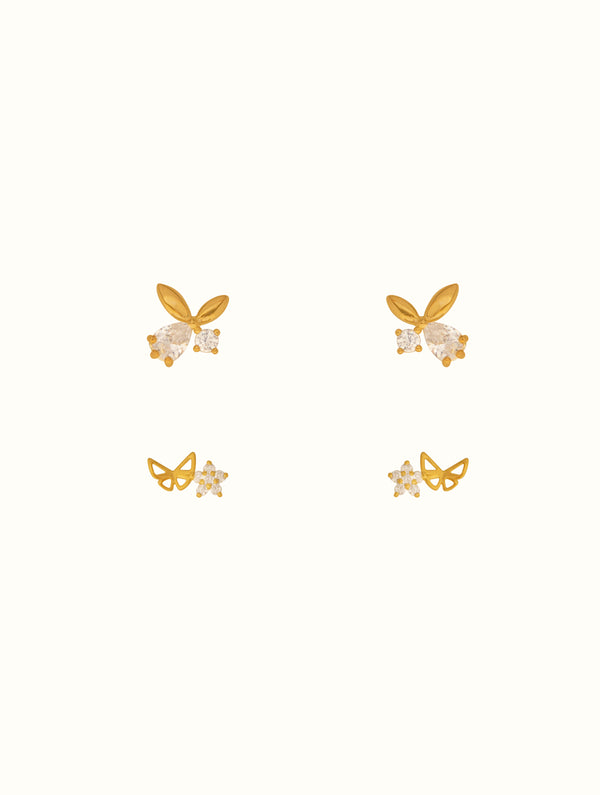 Sterling Silver Tiny Butterfly Stud Set