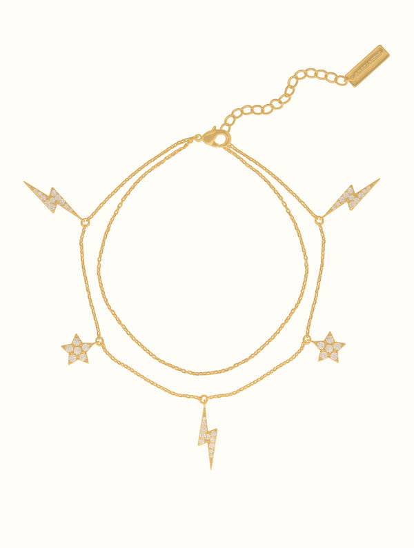 Double Chain Star Lightning Anklet