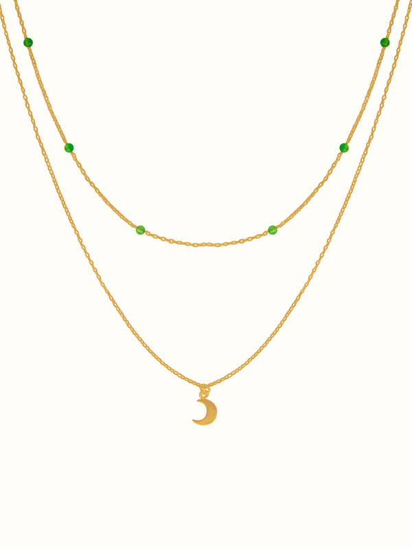 Layered Green Beaded Moon Necklace