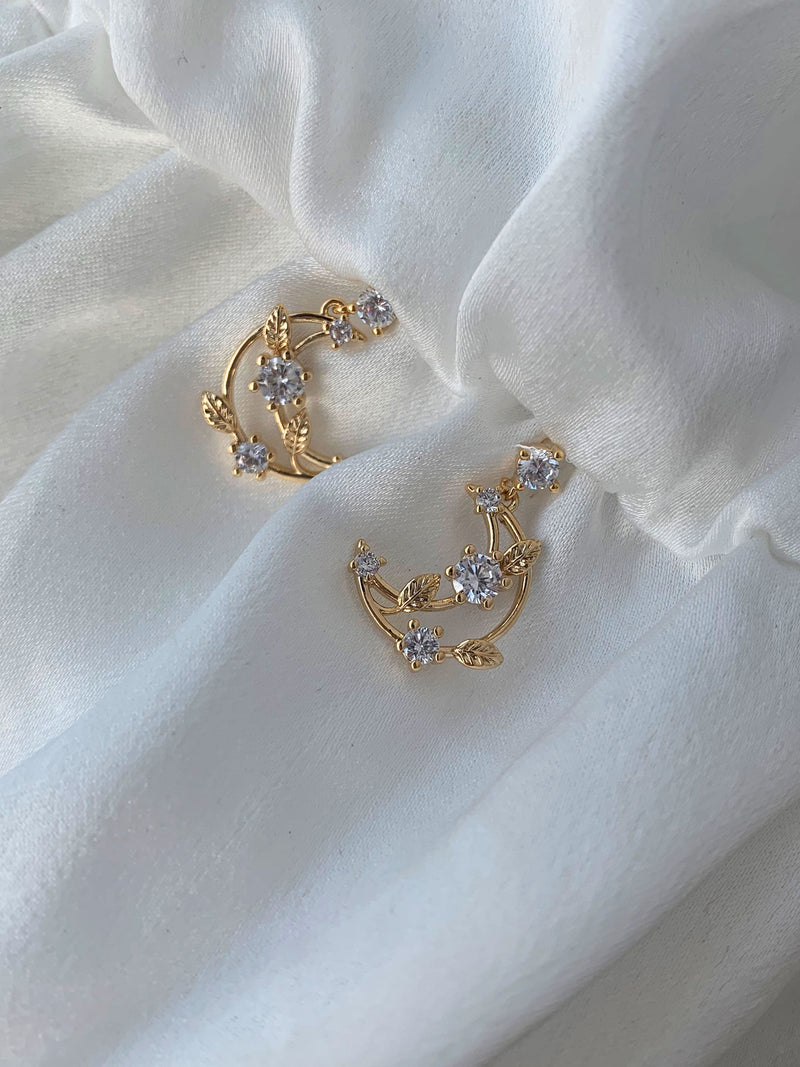 Crescent Jewel Encrusted Studs