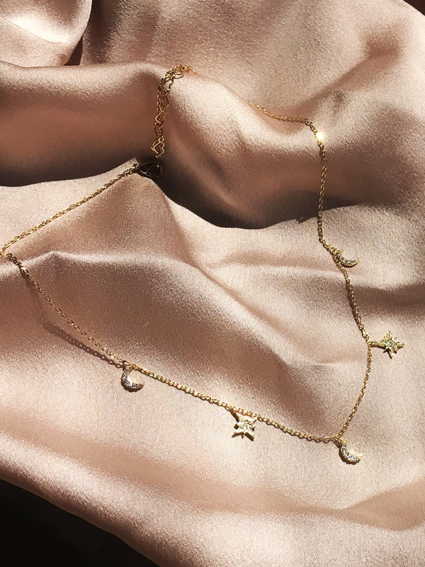 Olivia 14K Gold Dipped Stars and Diamonds Choker