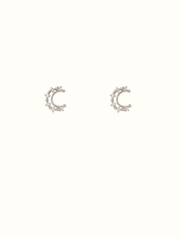 925 Sterling Silver Moon Studs