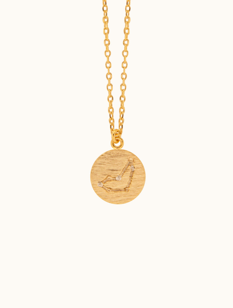 Tiny Circle Horoscope Pendant Necklace