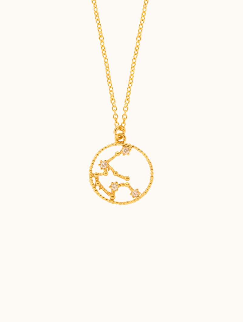 Embellished Circle Horoscope Pendant Necklace