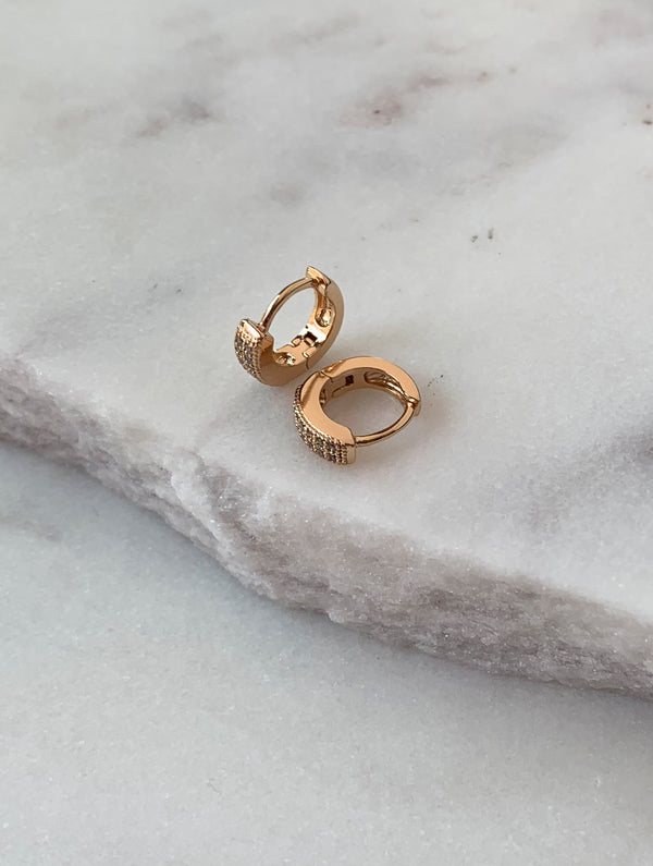Kingsley Rosegold Diamond Hoops