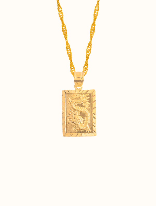 Gold Filled Dragon Square Tablet Necklace