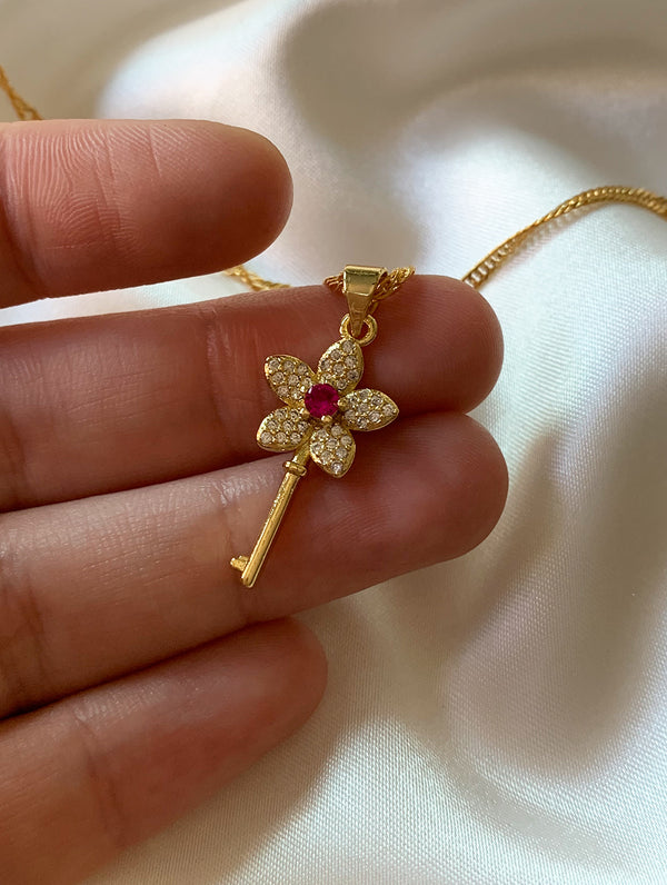 14K Gold Filled Flower Key Necklace