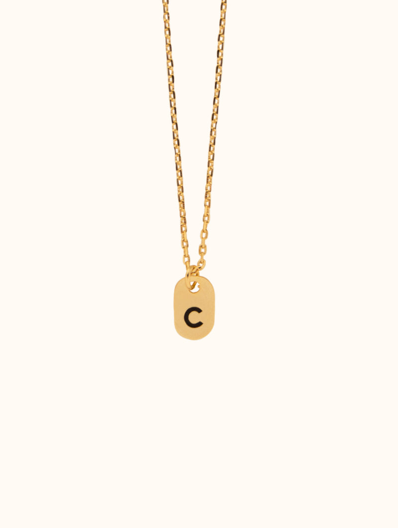 Tiny Initial Gold Necklace