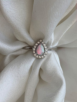 Sterling Silver Pearl Shape Opal Ring
