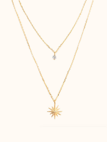 Chloe Cubic Zirconia Sun and Stars Layer Necklace