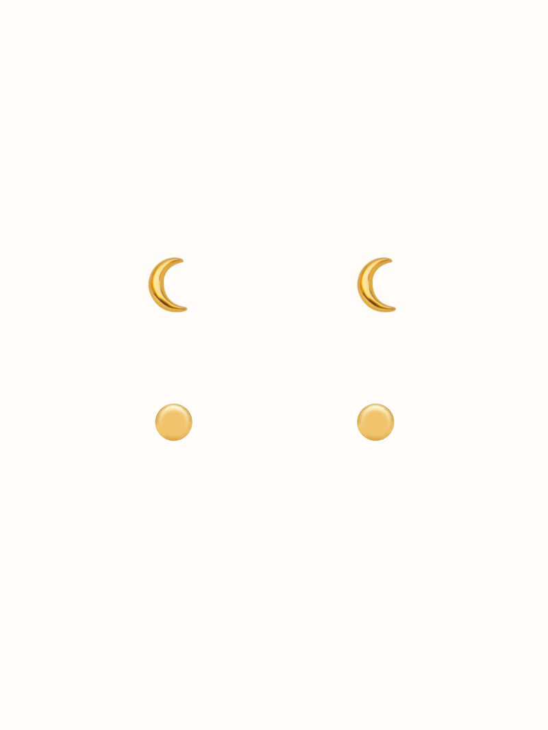 Teeny Tiny Sterling Silver Moon Stud Set