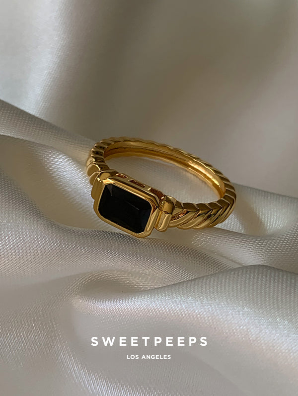 Black Stacy Signet Ring