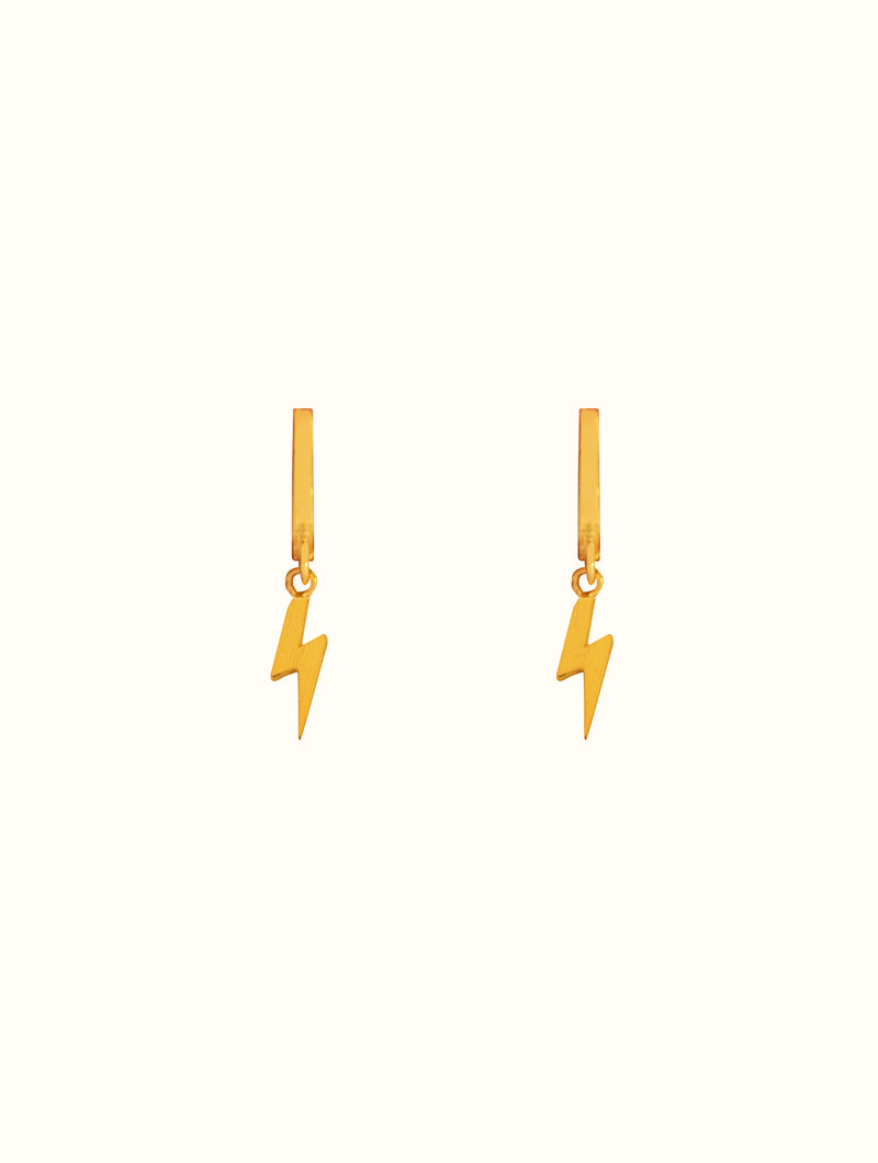 18K Gold Dipped Lightning Bolt Huggies